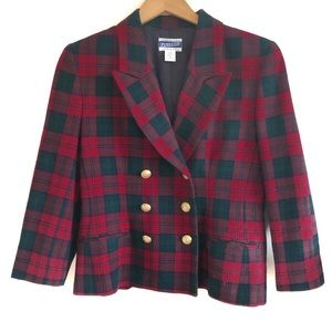Pendleton Vintage Red And Green Plaid Wool Blazer